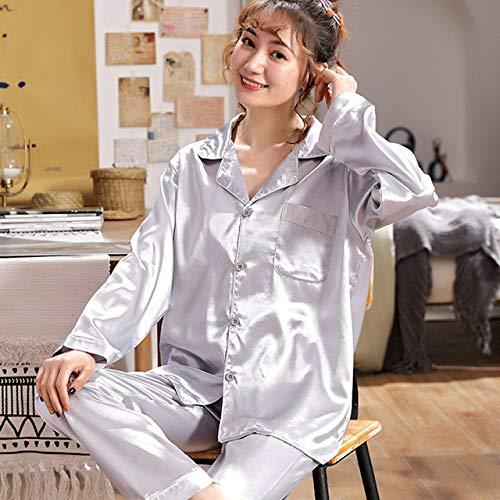 JFCDB Nachthemd Luxe Zomer Pyjamapak Satijn Zijden Pyjama Sets Dames Nachtkleding Familie Pijama Nachtpak Dames Casual Huiskleding, Zilver vol, L (50,60kg)