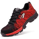 COOU Zapatillas de Seguridad para Hombre Ligeras S3 Calzado de Trabajo para Comodas (41 EU, Style 536 : Red)