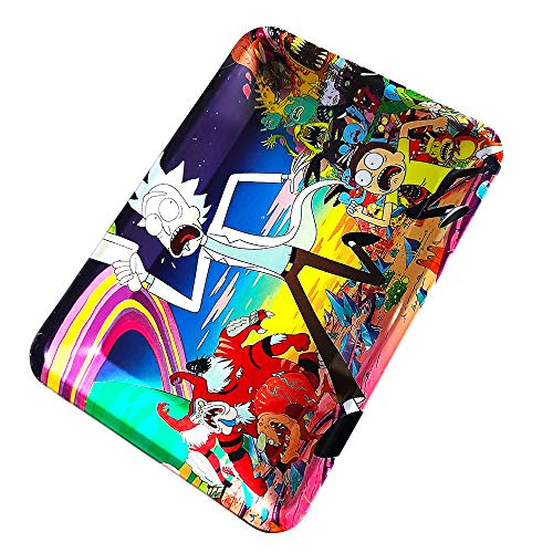 Rolling Tray Metal Durable Scroll Plate Portable Classic Rainbow Style (7