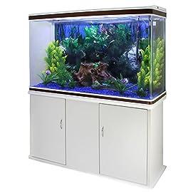 MonsterShop – Aquarium, 300 Liter, Starter-Set und Zubehör, blaue Kies, weißes Unterschrank, Gesamtgröße 143,5 x 120,5 x 39 cm