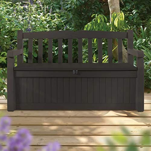 Ketter Eden 70 Gallon Storage Bench Deck Box with Lockable Lid Water Resistant Plastic Resin Outdoor Storage Bench Perfect to Store Garden Tools and Pool Toys Brown by Michael Trunnell
