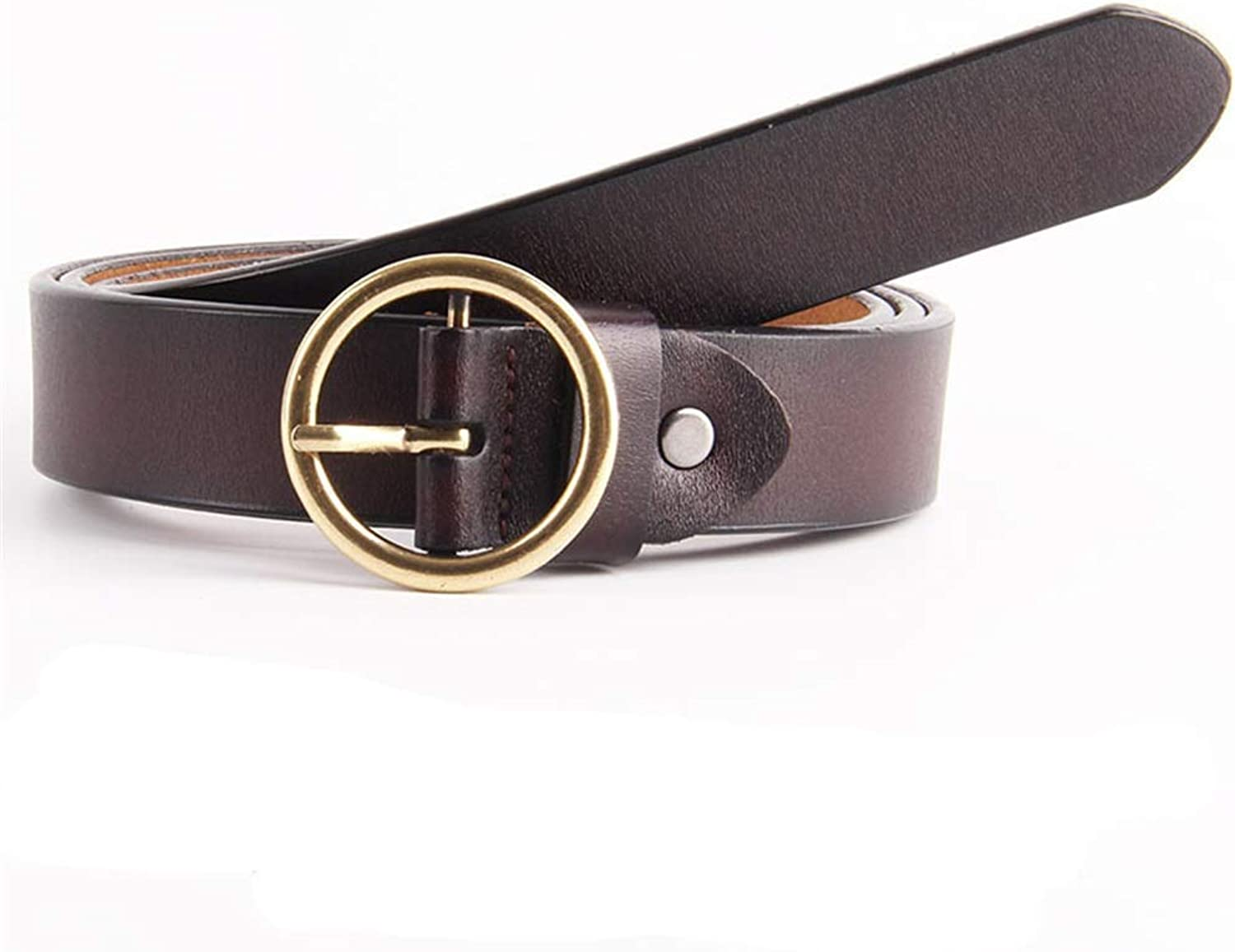 Round Buckle Women Leather Belt Adjustable Skinny Waist Belt for Jeans Pants Dresses Plus Size (color   Coffee color)