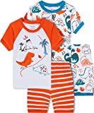 shelry Dinosaur Pajamas for Boys Summer Kids 4 Pieces Cotton Pjs Short Set Toddler Baby Sleepwear 7t