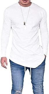 Makkrom Mens Long Sleeve T Shirts Hipster Hip Hop Slim Swag Curve Hem Basic Tee Tops