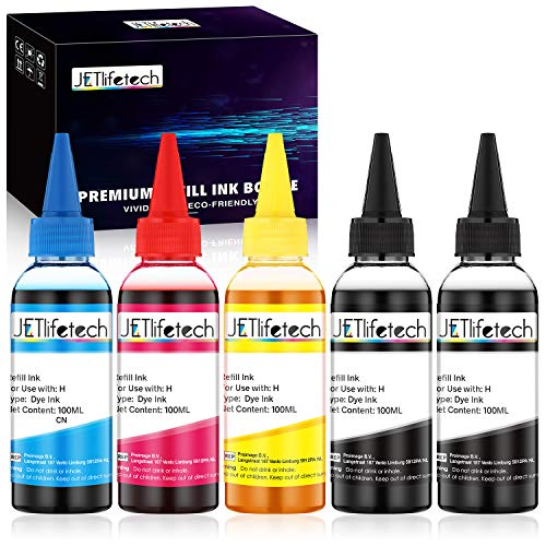 JETlifetech 4 couleurs Universel Encre Kit de recharge pour HP rechargeables Cartouches d'encre et CISS Systems, 100ml chaque encre/bouteille, 5 bouteilles (2 noires / 1 cyan / 1 magenta / 1 jaune)