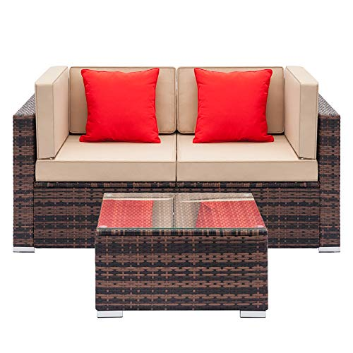 2 Seater Sofa- Double Couch/Sofa - Upholstered Sofa for Living Rooms Lounge Garden Set 3-Sofa Set Iron Frame (2Ps Corner Sofa + 1Ps Coffee Table+2 Ps Cushion)