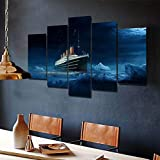 5 Panel Impresión en Lienzo Barco Titanic Ice Burg 5 Cuadros Modernos Impresión de Imagen Artística Digitalizada | Lienzo Decorativo para Salón o Dormitorio