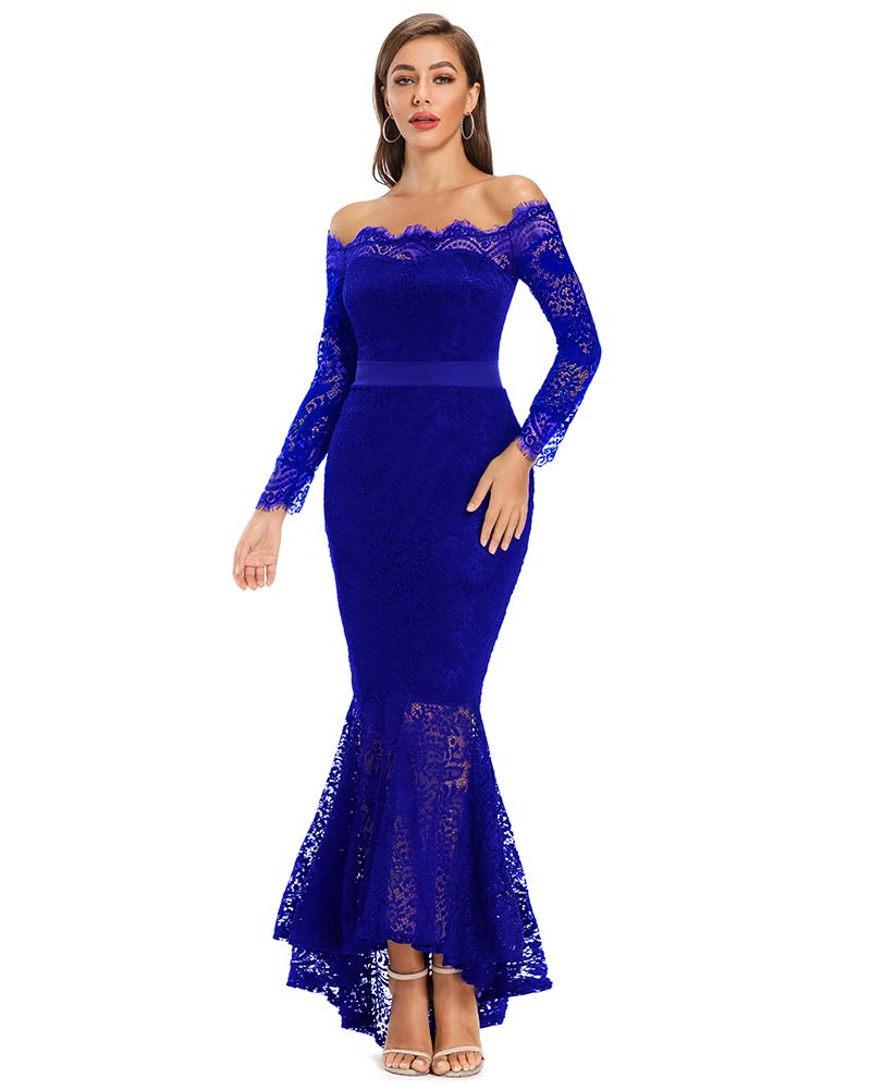 Available at Amazon: LALAGEN Women's Floral Lace Long Sleeve Off Shoulder Wedding Mermaid Dress