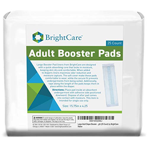 BrightCare Extra Absorbent Large Adult Diaper Booster Pad Liner Inserts Doubler Locks In Moisture Throughout The Day or Night with +18 oz Absorbency (25 Count)