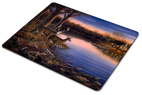 Smooffly Deer Gaming Mouse pad,Deers at The Ege of The River Non-Slip Thick Rubber Large Mousepad Photo #6