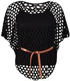 Damen Flügelärmel Damen U-ausschnitt Krawattengürtel Häkel Netz Pulli Einsatz Ärmelloses Top Übergröße - Schwarz, Damen, 46-48
