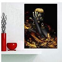 抽象キャンバス絵画ブラックゴールドアフリカ女性モデルアートポスターキャンバス写真プリントリビングルームの絵画壁アートの装飾-60x90cmx1フレームなし