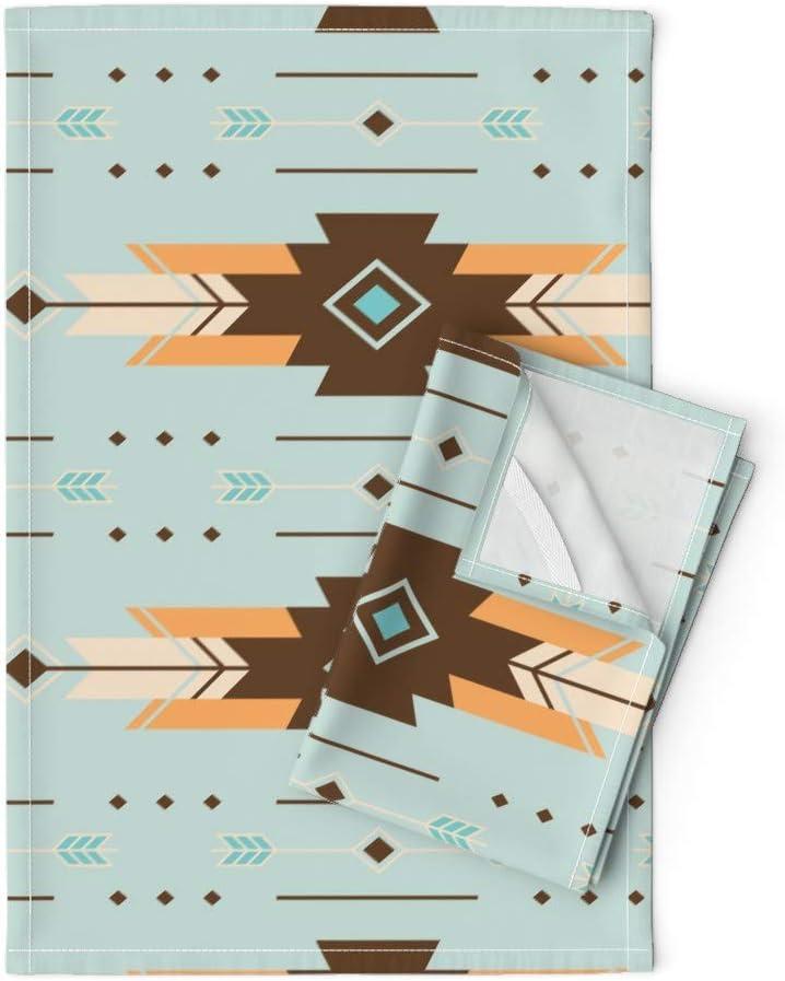 Surprise price Southwest Tea Towels mart Baby Boho Brown Orange Blue Bohemian Geomet