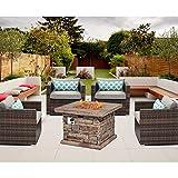 SUNBURY Outdoor 5-Piece Conversation Set w Stone Propane Fire Table,...