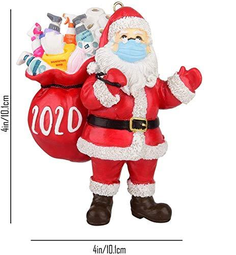 FVANOR 2020 Christmas Ornament Santa Claus Wearing A Mask, 2020 Quarantine Survivor Unique Luxury Decoration, Christmas Figurine Christmas Tree Decoration(2 Pack)