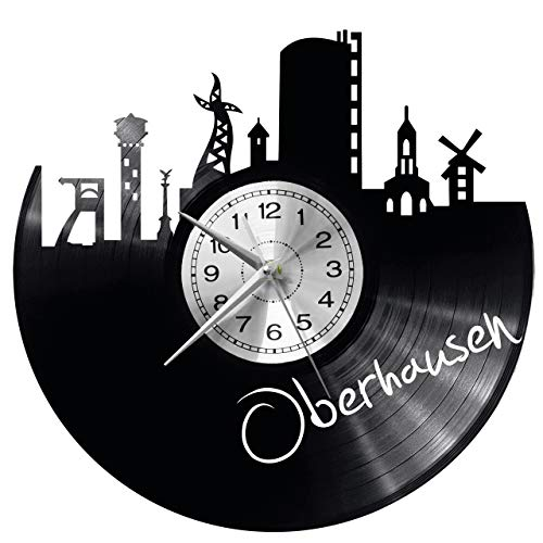 WoD Oberhausen Wanduhr Vinyl Schallplatte Retro-Uhr groß Uhren Style Raum Home Dekorationen Tolles Geschenk Uhr