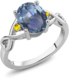 Gem Stone King 1.87 Ct Oval Cassiopeia Mystic Topaz Yellow Sapphire 925 Sterling Silver Ring