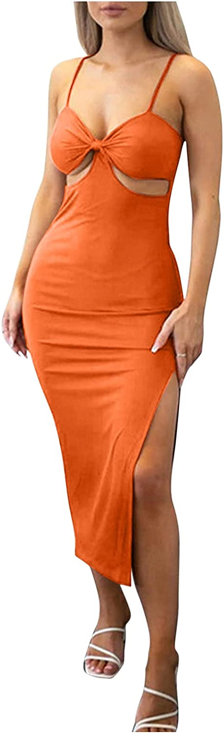 Qisemi Summer Dress for Women,Women's Sexy Sleeveless Dresses V-Neck Low Cut Sling Cocktail Party Dress Club Dress