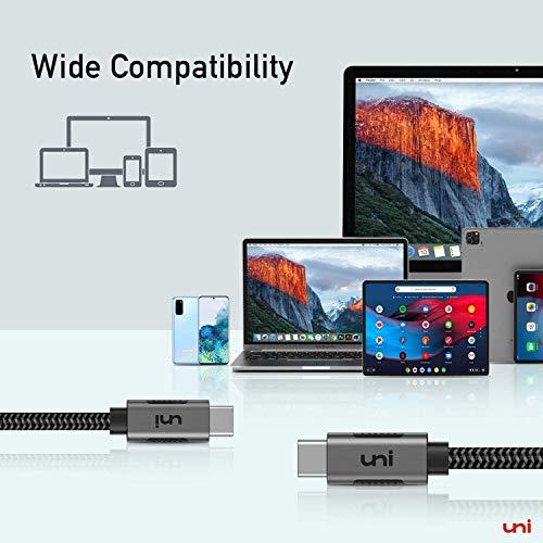 uni USB C auf USB C Kabel, 4K@60Hz Monitor Kabel, 5Gbps Data Transfer PD Ladekabel Kompatibel mit iPad Pro, Macbook Air, Macbook Pro, Pixelbook usw. 1m