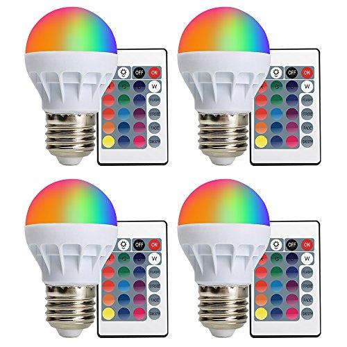 (4-PACK) LED Glühbirne E27 RGBW XJLED 3W LED RGB Lampe Farbige Leuchtmittel mit RGB und Kaltweißem Licht, 16 Farben, 160°Abstrahlwinkel RGB Lampe mit Fernbedienung