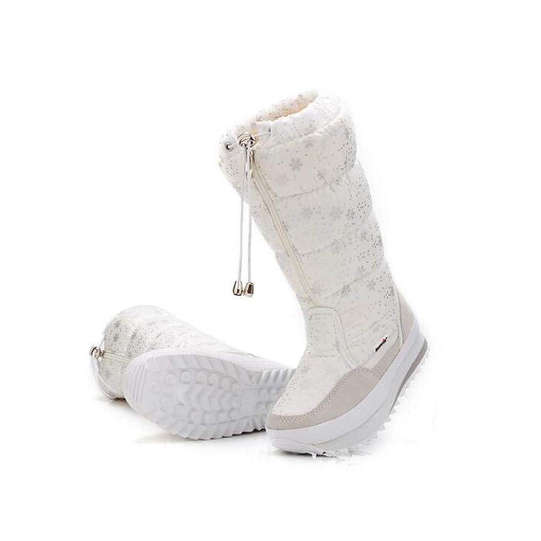 コークス目に見える使役[マリア] スノーブーツ レディース ブーツ 裏起毛 ロング丈 雪柄 可愛い 防水