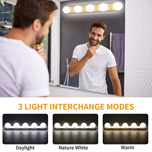 YISUN LED Spiegelleuchte, Make-up Licht Spiegellampe Schminklicht Schminkleuchte Tageslichtlampe 3 Farben LED Licht einstellbar USB Dimmbar, LED Kosmetikspiegel Licht für Badezimmer Schrank Küche