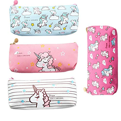 Unicorn Pen Holder Makeup Bag Organizer Canvas Pouch Zipper Stationery Purse Cute Portable Cosmetic Bags Travel Small Brush Storage Case 4Pcs