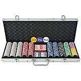 SOULONG Juego de póquer con 500 fichas, 500 chips, 2 barajas de cartas y 5 dados, 1 dealer button, con maletín de...