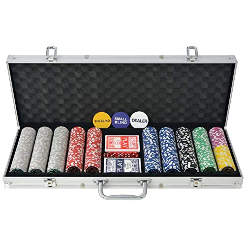 SOULONG Juego de póquer con 500 fichas, 500 chips, 2 barajas de cartas y 5 dados, 1 dealer button, con maletín de aluminio