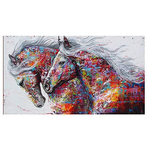 DIY 5D diamante pintura mosaico Animal pareja caballo punto de cruz cristal diamantes de imitación bordado artesanía para adultos niños decoración del hogar regalo 40X50Cm