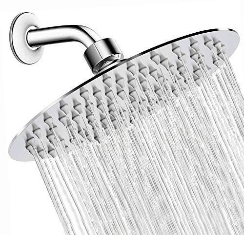 Luxury Round Rain Shower Head Large Stainless Steel High Pressure Shower Head Ultra Thin Rainfall Bath Shower with Silicone Nozzle Easy to Clean and Install (8 INCH)