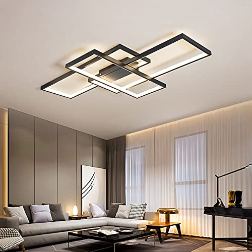 Sea & Sea Moderne minimalistische LED-Deckenleuchte geometrische quadratische Deckenlampe Modedesign Deckenleuchten Persönlichkeit DeckeLichter Schlafzimmer Studie Wohnzimmer Leuchter,Schwarz,140cm