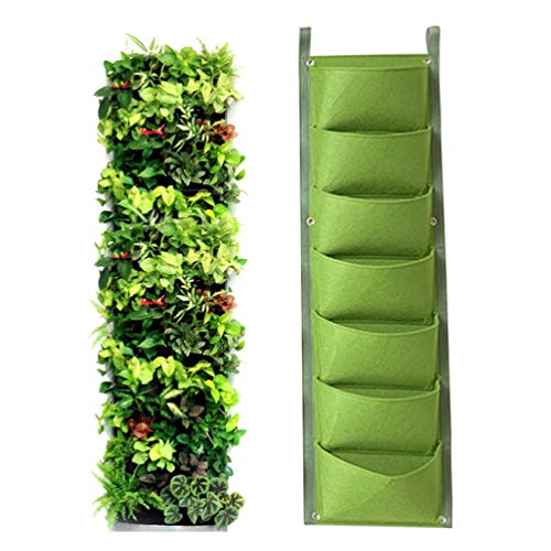 IWNTWY 7 Pockets Vertical Hanging Grow Bag, Wall Mount Garden Planter for Indoor Outdoor Yard Balcony Planting Strawberries Flower Herbs...