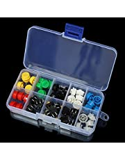 ILS - 50 Pieces Tactile Push Button Switch Momentary Tact & Cap Assorted Kit 12x12x7.3mm KeyCaps