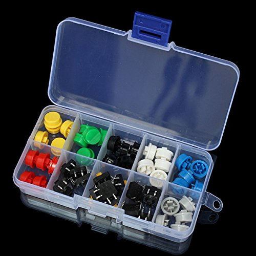 Amazon.es - 50pcs Tactile Push Button Switch Momentary Tact & Cap Assorted Kit