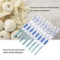 操作が簡単ヤーンフックかぎ針編みキットかぎ針編みフックセット手触りがスムーズ柔らかいプラスチック素材家庭用アルミかぎ針編みフック(Medium thick blue hook)