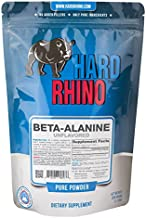 Hard Rhino Beta-Alanine Powder, 500 Grams (1.1 Lbs), Unflavored, Lab-Tested, Scoop Included