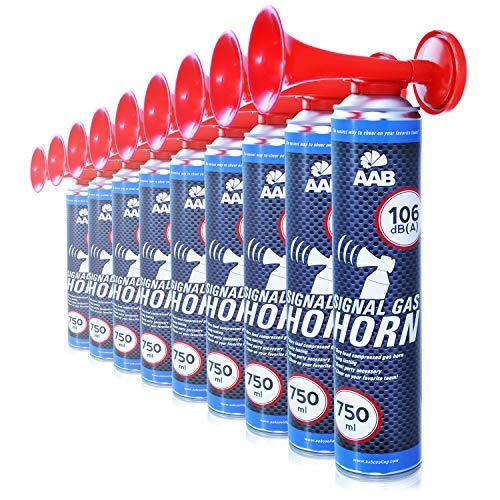 AAB Cooling Signal Gas Horn 750ml - Conjunto de 9 - Fanfarria Muy Fuerte, Bocina de Aire Comprimido, Bicicleta Segunda Mano, Car Horn, Bocina Portatil, Bocina Spray