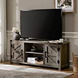 FITUEYES Farmhouse Barn Door Wood TV Stands for 70 inch Flat Screen, Media Console Storage Cabinet, Rustic Gray Wash Entertainment Center for Living Room, 59 Inch
