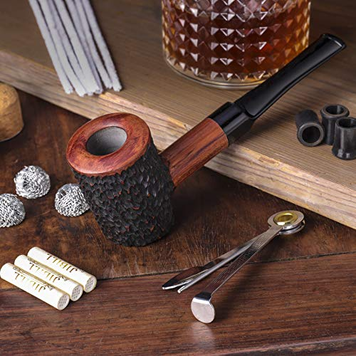 Yannabis Tobacco Pipes, Handmade Carved Smoking Pipe with Accessories(Scraper, Filter Element, Filter Ball, Pipe Tip Grips, Box, Bag)