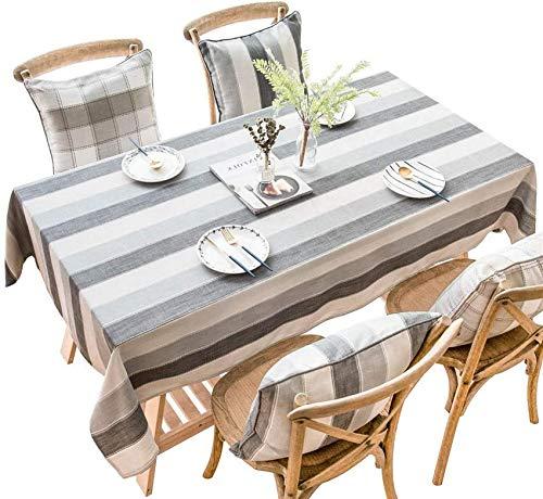 xcxc Mantel de algodón y Lino a Rayas, Fresco y Simple, Mantel Impermeable, Adecuado para jardín, Sala de Estar, Mantel de Hotel, rectángulo