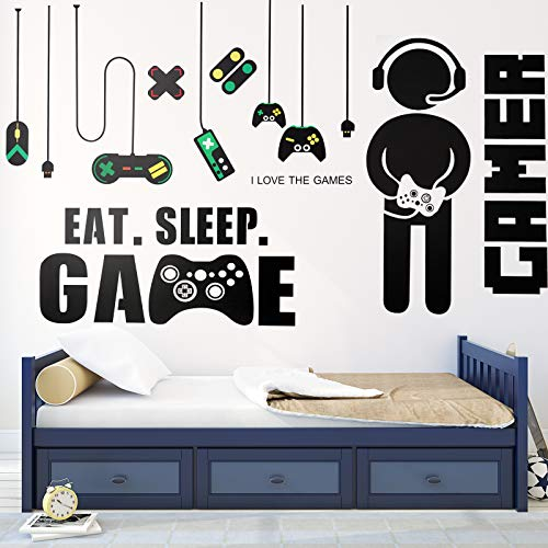 3 Sheets Game Wall Stickers Video Game Wall Decals, Vinyl Gaming Wall Stickers Eat Sleep Game Wall Decal for Boys Kids Men Bedroom Home Playroom