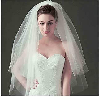 Olbye Women's Wedding Veil Two Tier Fingertip Veil Raw Edge Veils for wedding Soft Tulle Bubble Veil