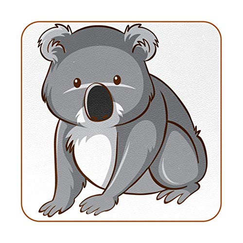 Bennigiry Lindo, Divertido, Australia, Koala Posavasos de Cuero Taza de café Cuadrada Taza de Vidrio Manteles Individuales Tapetes para Tazas Manteles Individuales 6 PCS