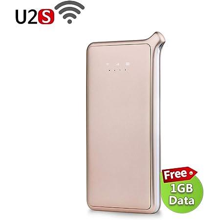 GlocalMe U2S モバイル Wi-Fi ルーター 1.1ギガ分のグローバルデータパック付け 高速4G LTE ポケットwifi simフリー 世界140国・地区以上対応 フリーローミング (ゴールド)