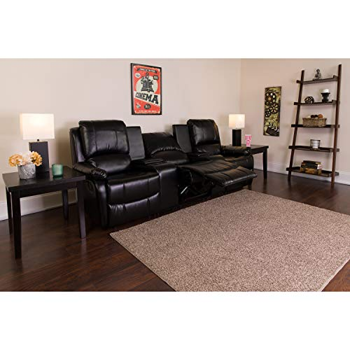 Flash Furniture Allure Series 3-Seat Reclining Pillow Back Black Leather Theater Seating Unit with Cup Holders
