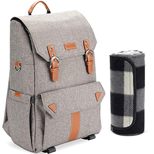 HappyPicnic Insulated Picnic Backpack with Roomy Cooler Compartment, Bottle Holders and Large Waterproof Picnic Rug