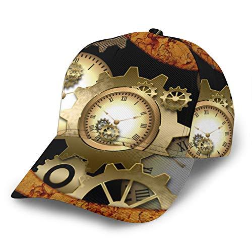 LAOLUCKY Gorra de béisbol ajustable con cierre snapback casual Trucker Hats Sun Hat Men Women Rusty Steampunk - Reloj de pulsera, diseño vintage, color negro Talla única