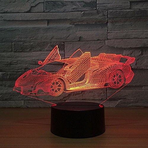Jiushixw Nachtlampje van acryl 3D met afstandsbediening, tafellamp, high-speed tafel, speeltafel voor auto met hoge snelheid