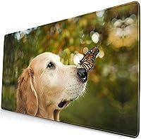 かわいい犬のマウスパッド15.8x29.5インチの黒いマウスパッド、オフィス/ゲーム/家庭用の滑り止めラバーベースマウスマットマウスパッド